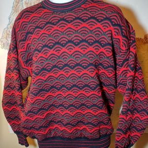 Coogi Australia Mens Knit Red Black Sweater LARGE